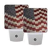 Gokruati 1 Pcs Plug-in-LED-Nachtlichtlampe,weiße LED-Nachtlichter Helles Nachtlicht mit Dämmerungssensor für Schlafzimmerküche (amerikanische Flagge)
