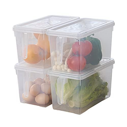 Faffooz Juego de Organizador de Nevera, 4 Piezas Caja De Almacenamiento Transparente para Frigorífico, Organizador de Frigorífico Adecuado para Refrigeradores, Cocinas, Armarios.