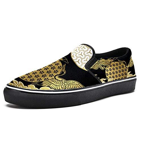 TIZORAX Cranes and Clouds Slipper Loafer Schuhe für Herren Jungen Fashion Canvas Flache Bootsschuhe, Mehrfarbig - mehrfarbig - Größe: 46 EU