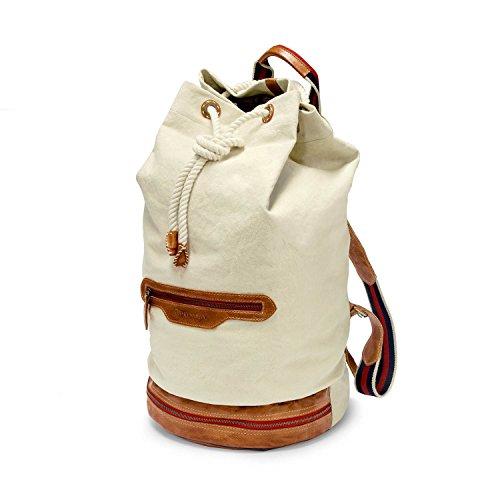 DRAKENSBERG Seesack, Reisetasche und Rucksack, groß, Eastport-Duffel-Backpack, 66 L, Canvas und Echt-Leder, alt-Weiss, Cognac-braun, DR00201