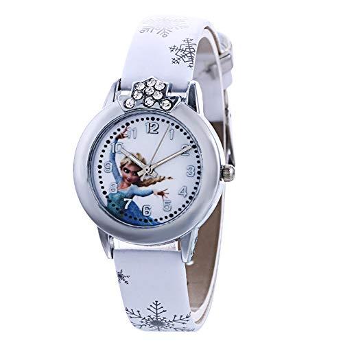 SFBBBO Reloj niño Reloj de Cuarzo de Cuero para niños, niñas, niños, Pulsera de Moda Informal, Reloj de Pulsera, Reloj Blanco