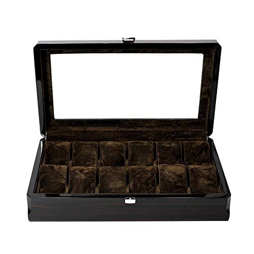 XXSHN Caja de Almacenamiento de Relojes Caja de Madera para Relojes de 12 bits Caja de Madera con Pintura, Caja de Almacenamiento de Relojes de joyería con Grano de Madera para Guardar