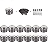 HEFANTU 12 Magnetic Spice Tins with Spice Racks Wall Mount & 120 Spice Labels, Storage Magnet Spice Containers, Clear Lid with Sift and Pour(Spices Not Included)(Grey)