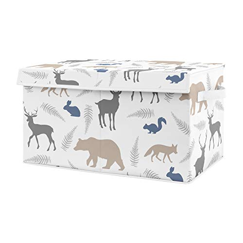 Sweet Jojo Designs Blue and Grey Bear Deer Fox Boy Baby Nursery or Kids Room Small Fabric Toy Bin Storage Box Chest for Woodland Animals Collection