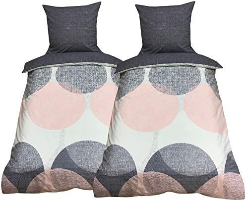 Leonado Vicenti Baumwolle Bettwäsche 135x200 4teilig rosa grau weiß mit Wendefunktion und Reißverschluss