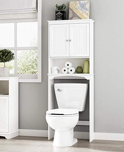 Spirich Home Bathroom Shelf Over-The-Toilet, Bathroom SpaceSaver, Bathroom Storage Cabinet Organizer,White