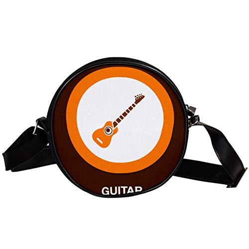 Gitarren-Icon, diagonale Tasche, runde Umhängetasche, Umhängetasche, modische Kreise, Umhängetasche, Mini-Canvas-Umhängetasche
