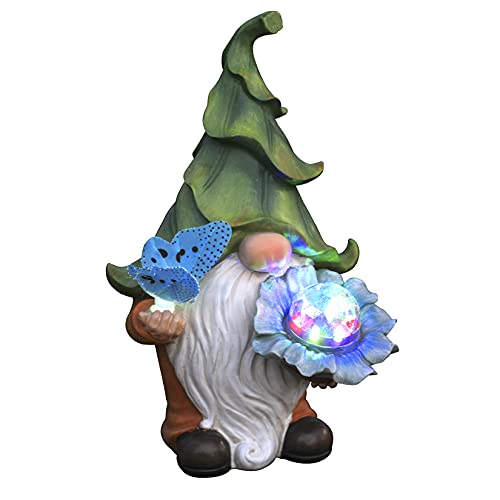 Garden Gnome Statue - Resin Gnome Figurine Holding Magic Orb and Butterfly with Solar LED Lights, Outdoor Summer Decoration for Patio Yard Lawn Porch,...