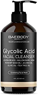 Baebody Glycolic Acid Facial Cleanser - contains Jojoba Beads, Tea Tree Oil and Rosehip Oil. Gently exfoliates, removes impurities, moisturizes and brightens skin. Daily Cleanser and Wash. 4oz.