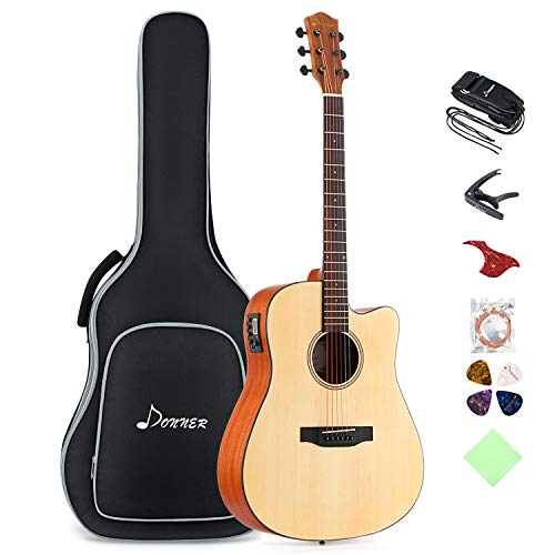 Donner Electric Acoustic Guitar Kit Dreadnought Cutaway Full Size 41 Inch Acustica Guitarra Bundle Set for Beginner Adult Teen with Built in Preamp Bag Strap Capo Pickguard String Right Hand DAG-1CE