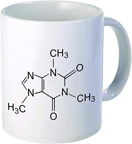 XJJ88 Cafeïne molecuul Thee Mok Cup met Handvat Porselein Unieke Mokken - Mannen, (11 oz.), Dubbele print