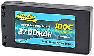 HobbyStar 3700mAh 7.4V, 2S 100C Hardcase Shorty-Lite Stock-Class LiPo Battery
