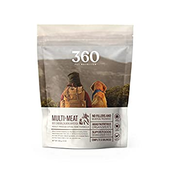 360 Pet Nutrition Freeze Dried Raw Complete Meal for Adult Dogs Multi-Meat Formula 16 Ounce