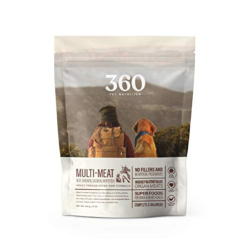 360 Pet Nutrition Freeze Dried Raw Complete Meal for Adult Dogs, Multi-Meat Formula 16 Ounce