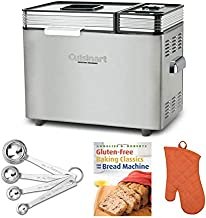 Cuisinart CBK-200 2-Pound Convection Automatic Bread Maker with Gluten-Free Recipe Book, Oven Mitt, and Measuring Spoons Bundle (4 Items)