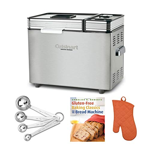 Cuisinart CBK-200 2-Pound Convection Automatic Bread Maker with Recipe Book, Oven Mitt, and Measuring Spoons Bundle (4 Items)