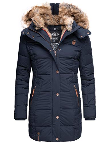 Marikoo Damen Wintermantel Steppmantel Parka mit Kapuze Lieblings Jacke Blau Gr. XL