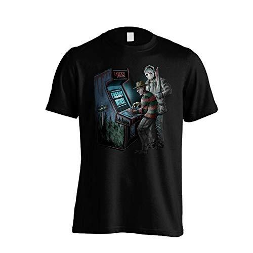 El viernes de la 13. Camiseta de manga corta para hombre de Freddy vs Jason (negro) (S-XL)