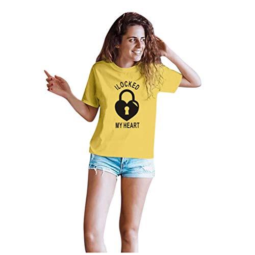 Dasongff Couple-shirts voor dames en heren, cadeauset voor verliefden, partnerlook, sleutels en vergrendeling Large geel/dames.