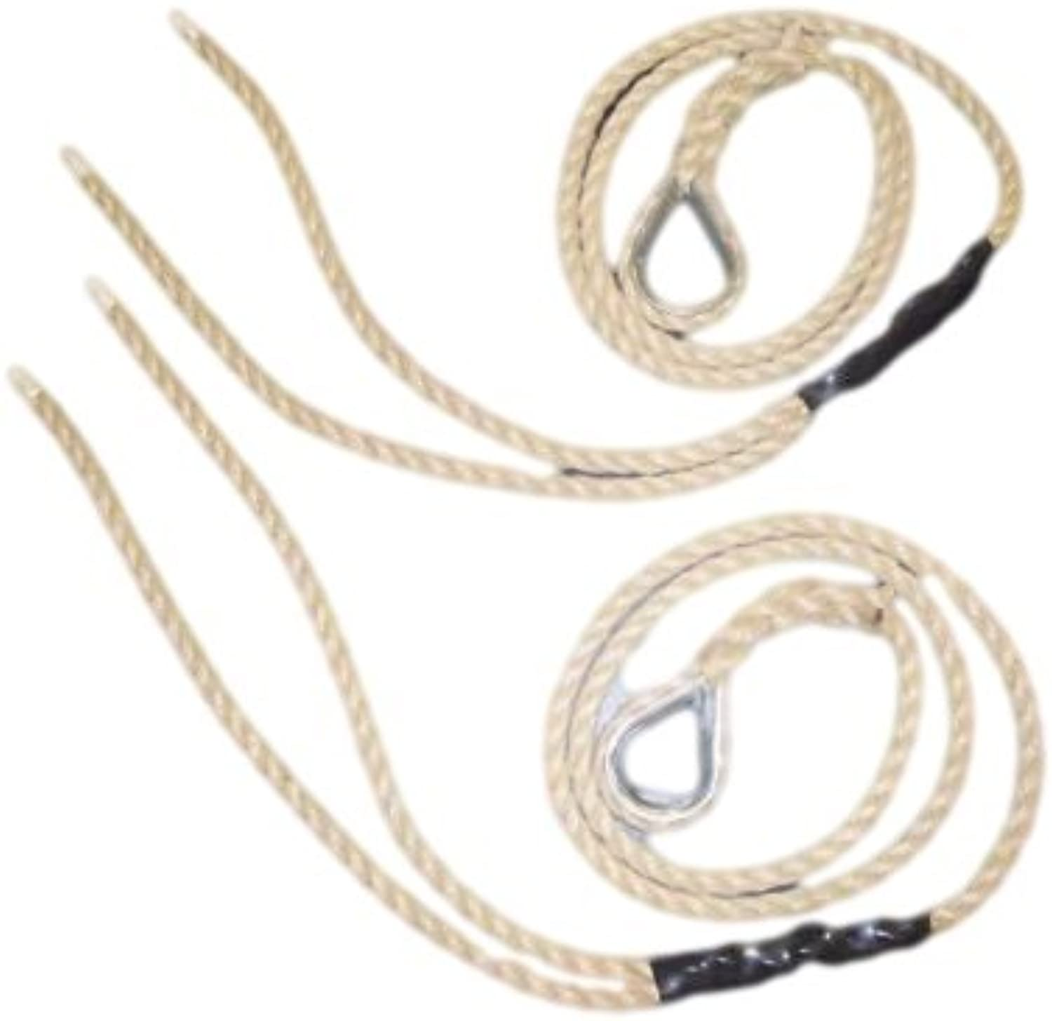 RopeServices UK 12Mm Poly Hemp Swing Ropes With Steel Thimbles