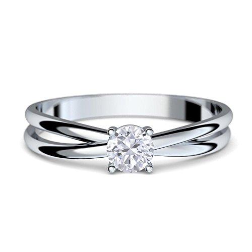 Verlobungsringe Weißgold Ring 333 ** GRATIS LUXUSETUI MIT GRAVUR** Weißgold Ring 333er von AMOONIC mit Zirkonia Stein Weißgoldring wie Verlobungsring Diamant Ring Diamantring Gold FF386WG333ZIFA56