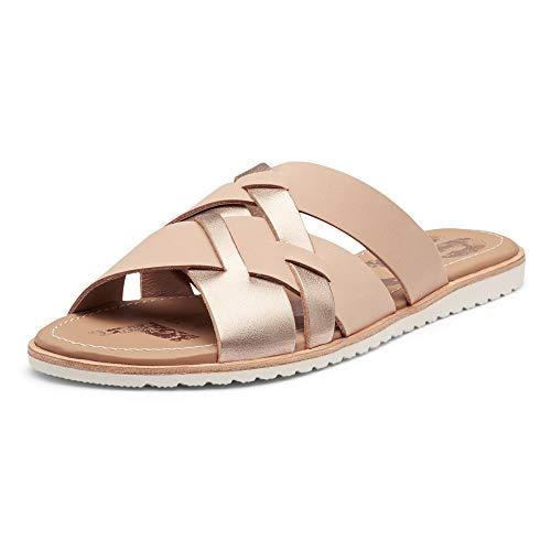 Sorel - Women's Ella Slide, Leather or Suede Slip-On Sandal, Natural Tan, 7.5 M US