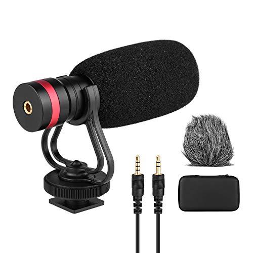 Microfone condensador cardióide direcional com montagem anti-choque 3,5 mm TRS e TRRS Cabos de saída de áudio Pára-brisa esponja Pára-brisa peludo para smartphones Câmeras Filmadoras Gravadores de