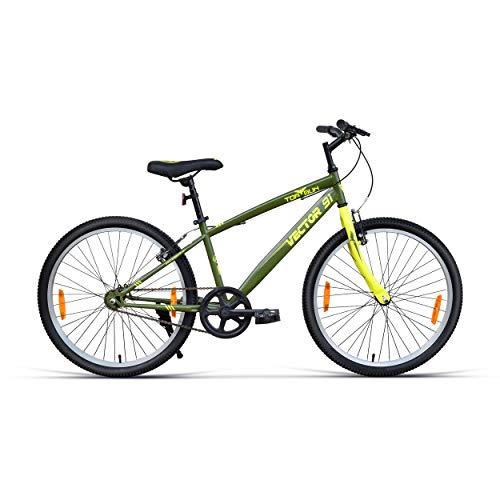 VECTOR 91 TopGun 24T Single Speed Hybrid Bike ( Army Green , Ideal For: 9 to 11 Years , Brake: V Brake )