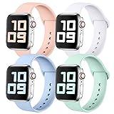KUNYOS 4er-Set Armband Kompatible mit Apple Watch Armband 38mm 42mm 40mm 44mm, Weiche Silikon Ersatz Sportarmband Loop Kompatible mit iWatch Series SE/6/5/4/3/2/1