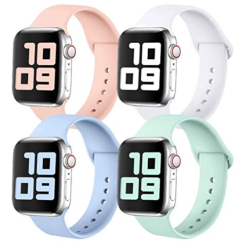 KUNYOS Pack 4 Strap Compatible with Apple Watch Strap 38mm 42mm 40mm 44mm, Soft Silicone Sport Loop Replacement Band Compatible with iWatch Series SE/6/5/4/3/2/1