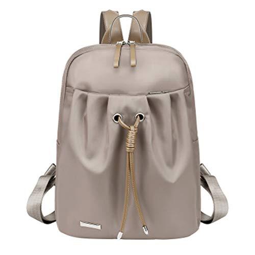 Alasmy ladies backpack-student large backpack-Oxford cloth anti-theft handbag-waterproof backpack light school bag-large capacity (Khaki, 25*12*33cm)
