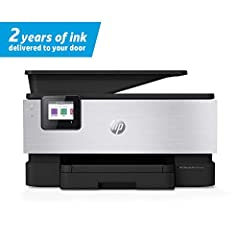 PREMIUM OFFICE PRODUCTIVITY – This color printer comes in an aluminum finish and offers faster printing at 22 pages per minute, automatic 2 sided copy and scan, and a 35 page automatic document feeder TWO YEARS OF INK, DELIVERED – The HP OfficeJet Pr...