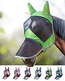 Harrison Howard CareMaster Pro Luminous Masque Anti-Mouches Protection Anti-UV Oreilles et Naseaux Vert Cheval (L)