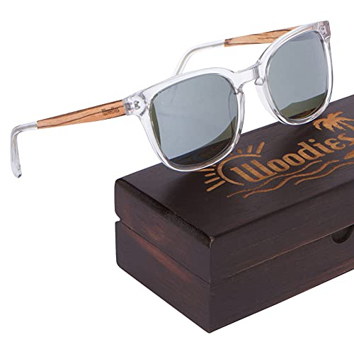 WOODIES Wood Sunglasses Clear Acetate Frame in...
