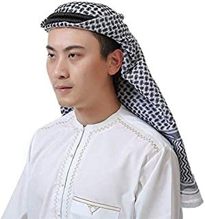 Mottdam 1Pc Men Classic Muslim Headscarf Middle Eastern Pattern Arabic Head Cover Turban