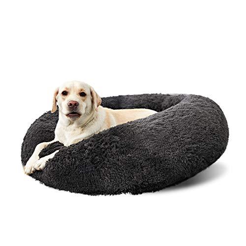 ANWA Waschbar Hundebett Große Hunde, Donut Hundebett für Mittlere/Große Hunde, Rundes Plüsch Haustierbett Hunde