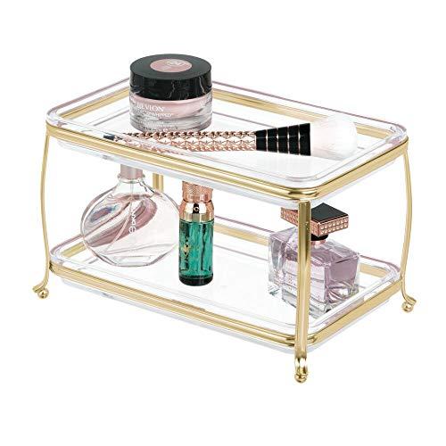 mDesign Kosmetik Organizer auch für Schmuck – edler Make-Up- und Schmuckkasten für jeden Raum – moderner Schminktisch mit zwei Ebenen – messingfarben/durchsichtig
