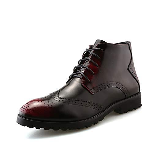 CAIFENG Botas Oxford para hombre, punta de ala mediada, punta redonda, con cordones, tacón bajo, suela de cuero sintético (color: rojo, tamaño: 40 UE)