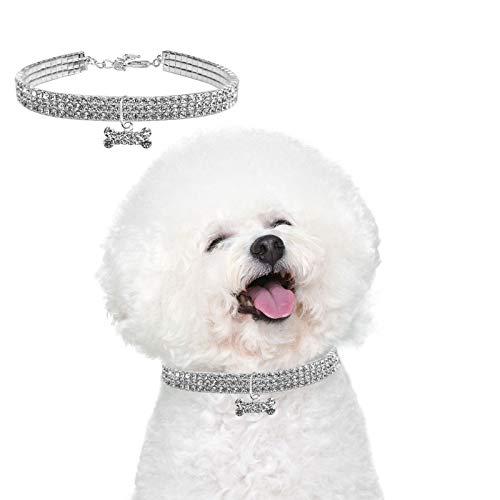 Jinlaili Collar de Perro de Mascota, Cuello de Diamantes de Imitación Elástico,Collar de Perro con Diamantes de Imitación para Mascotas Pequeñas o Medianas con Colgante en Forma de Hueso (Medi