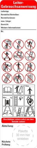25 x Bedienungsanleitung Leitern nach Leitern und Tritte BGI BGV 50 x 200 mm