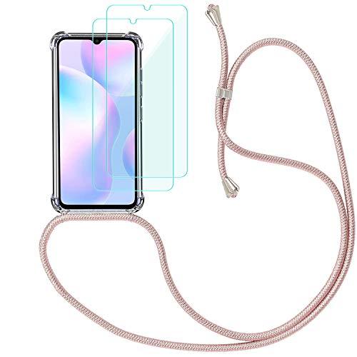 Yohii Funda con Cuerda para Xiaomi Redmi 9A + [2 Pack] Cristal Templado Protector de Pantalla, Carcasa Transparente TPU Suave Silicon Colgante Ajustable Collar, Case para Xiaomi Redmi 9A - Oro Rosa