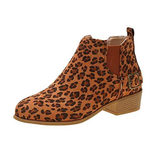 Botines Mujer Planos con Corto Tacon Ancho Calzado De Trabajo Zapatos Leopardo...