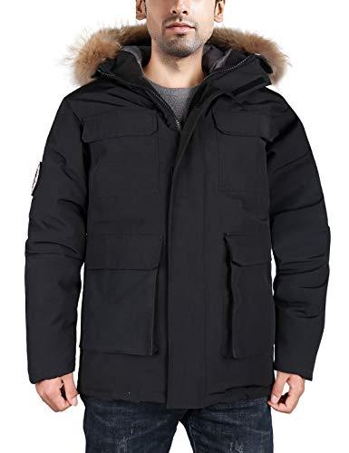 HARD LAND Men's Goose Down Parka Winter Coats Expedition Jacket Waterproof Warmest Outerwear with Real Fur Hood Black Size XXXL