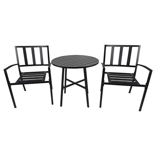 Outsunny 3-teilige Essgruppe, Sitzgruppe, Gartenmöbel Set, mit 1 Tisch + 2 Stühlen, Wohnzimmer Terrasse, Metall, Schwarz, Ø70 x H71 cm
