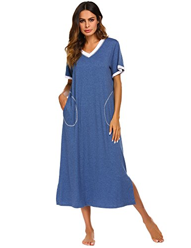 Ekouaer Sleepwear Women's Nightshirt Short Sleeve Nightgown Ultra-Soft Full Length Sleep Dress (Blue, X-Large)
