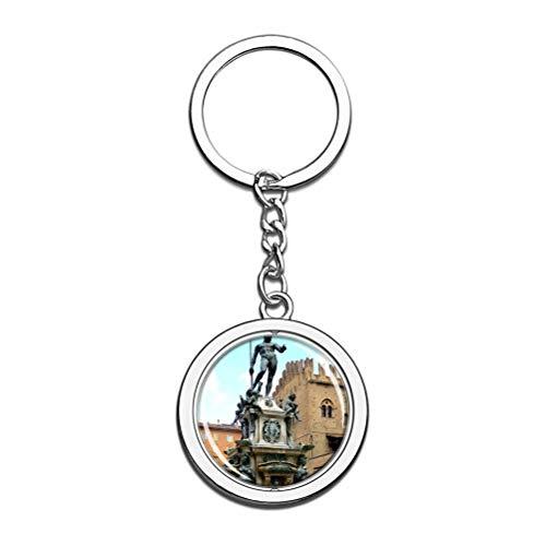 Schlüsselanhänger Italien Brunnen von Neptun Bologna Schlüsselanhänger Souvenir Spin Kristall Metall Edelstahl Kette Stadt Reise Geschenk
