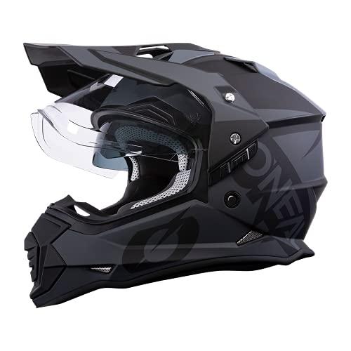 O\'NEAL | Motorradhelm | Enduro Motorrad | Ventilationsöffnungen für maximalen Luftstrom & Kühlung, ABS-Schale, integrierte Sonnenblende | Sierra Helmet R | Erwachsene | Schwarz Grau | Größe S