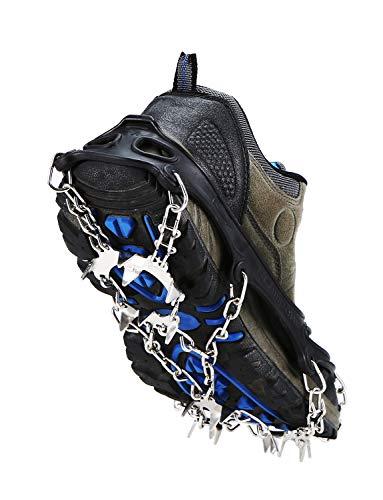 Lixada Crampons Spikes Grips Neige Glacée avec 19 Pointes en Acier Inoxydable Anti Slip Chaussures Couverture pour Randonnée en Plein Air Randonnée et Escalade