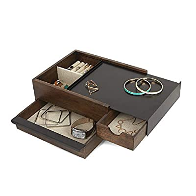 Umbra Jewelry Box - Modern Keepsake Storage Organizer with Hidden Compartment Drawers for Ring, Bracelet, Watch, Necklace, Earrings, and Accessories, Stowit, Black/Walnut