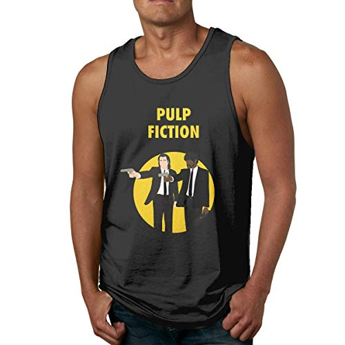 Herren Baumwolle T-Shirts Fitnessstudio Fitness Singulett West Pulp Fiction Filmplakat Ärmelloses Tank Top Shirt